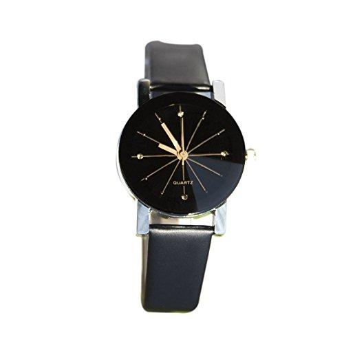 Tenflyer Männer / Frauen Einfache Casual Style PU-Leder-Uhr-Band runden Zifferblatt Paar Uhr der Armbanduhr