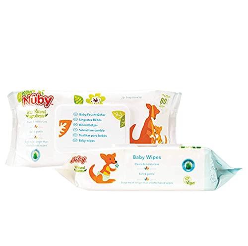 Nuby - Baby-Feuchttücher, 2 x 80 Stück (Doppelpack)