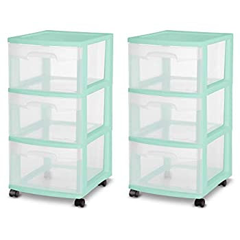 Sterilite 28308A01K 3 Drawer Rolling Caster Wheel Home Organizer Storage Cart with Durable Plastic Frame Clear Drawers Green  2 Pack