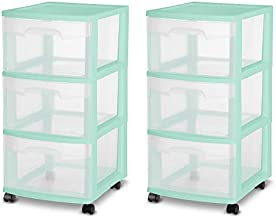 Sterilite 28308A01K 3 Drawer Rolling Caster Wheel Home Organizer Storage Cart with Durable Plastic Frame, Clear Drawers, Green (2 Pack)