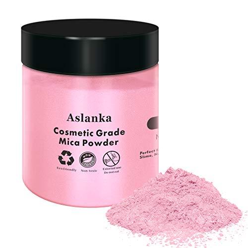Aslanka Rosa Pigmenti Coloranti, 50g Pigmenti in Polvere di Mica Metallizzata Naturale, pigmenti per resina epossidica per Bombe da Bagno,Sapone, Slime,Candele, Cosmetici