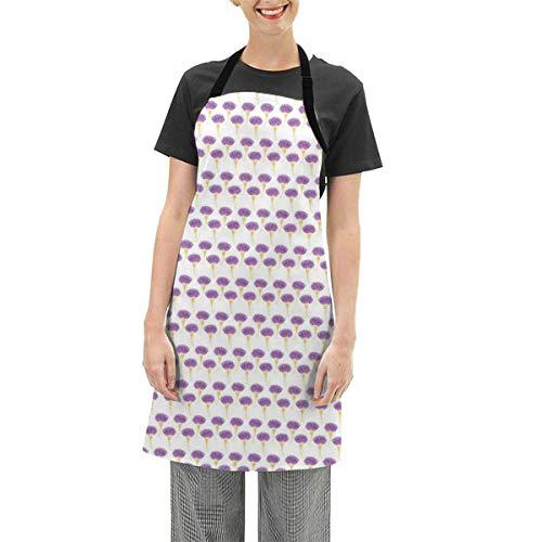 N\A Schürzen verstellbare Latzschürze Kochküche, abstraktes Silhouette Distel-Motiv mit Aquarelleffektdruck, für Frauen Männer Chef