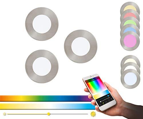 EGLO Panel LED empotrado connect, juego de 3 Fueva-C, lámpara empotrada Smart Home, material metal fundido, plástico, color Níquel mate, 8.5 cm, regulable, tonos blancos y colores graduables
