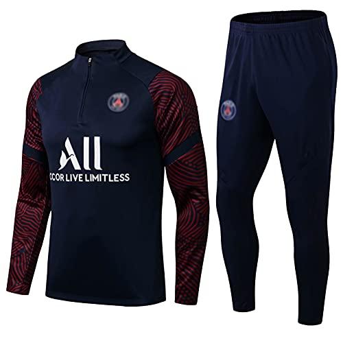 LCSA 2021 - Traje de entrenamiento de fútbol americano para hombre, media cremallera de manga larga, camiseta deportiva de equipo y camiseta de campo (2 unidades), color azul real