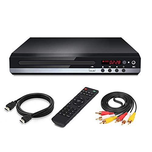 Q&N Reproductor De DVD Reproductor De DVD CD/Disco para Todas Las Regiones para TV con Salida HDMI/AV HD 1080P Compatible con Sistema USB PAL/NTSC Integrado Puerto Coaxial Y Control Remoto