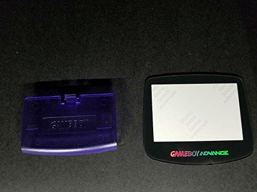 ClassicGameSource Klare lila Batterieabdeckung Logo + Glass Holo-Bildschirm für Game Boy Advance
