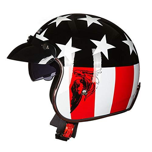 GAOZHE Casco Moto Abierto Retro Adultos Retro Casco Moto,Vintage Classic Abierto Cascos Half-Helmet,con Visera,Dot Approved,Profesional Moto Jet Cascos,para Mujer y Hombre Street Bike Cruiser