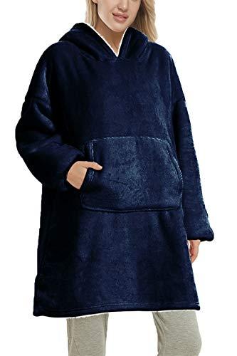 Yutdeng Sherpa con Capucha cálido y Supersuave Sudadera Manta Gran tamaño para para Mujer Supersuave Forro Polar Manga Larga Chaqueta Cozy Comfy Hoody Hombre(Azul,Talla única)