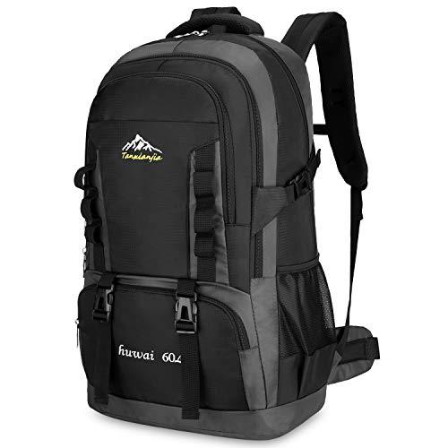 Bioasis 60L Mochila de Senderismo con Cubierta de Caminata Daypack de Gran Capacidad para Viaje Deporte Montañismo Trekking Camping al Aire Libre, Negro