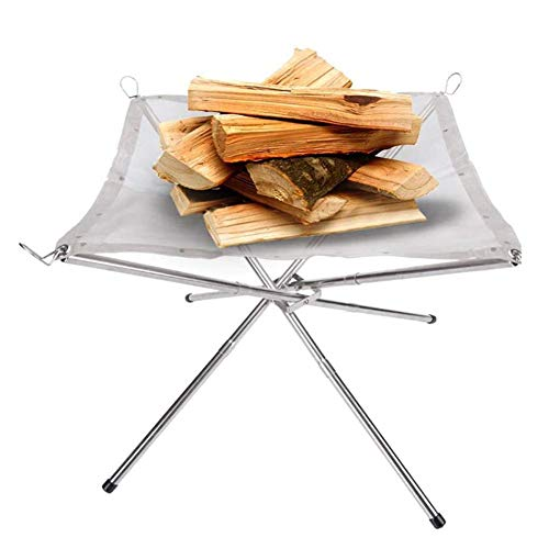Outdoor Camping Campfire, Folding Mesh Fire for Outdoor Patio with 4 Mobile Steel Stands, Portable Fireplace for Campfire, Rear Garden