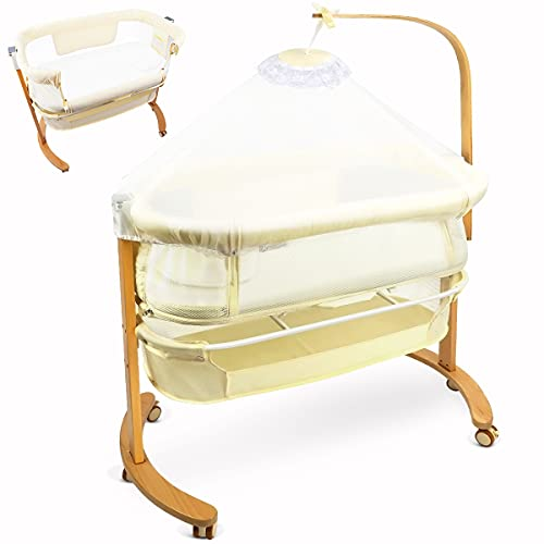 YOLEO Beistellbett Baby mit Rollen Kinderbett mit Matratze bis 20kg Bett für Baby bis 18 Monate Massivholzbett Babywiege Buche (Beige)
