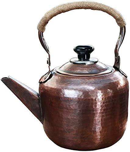 Tetera para el hogar Tetera de Cobre Espesada para Estufa, Tetera de silbido de Gran Capacidad, Adecuada para Estufas de Gas, hornos de Fuego, YKHAO