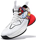 Boys Basketball Shoes Comfortable Kids Sneakers Youth Mid-top Slip-on Girls Running Shoes Lightweight Kids Shoes High-Top Outdoor Trainers for Unisex Kids Durable Sport Shoes White Red little kid size 3