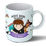Planetacase Taza Desayuno Aquí Bebe la Mejor adiestradora de Perros del Mundo Regalo Original adiestradores Mascotas Ceramica 330 mL
