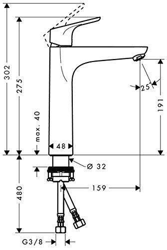 Hansgrohe – Waschtisch-Einhebelarmatur, ohne Ablaufgarnitur, QuickClean, EcoSmart, Chrom, Serie Focus 190 - 6