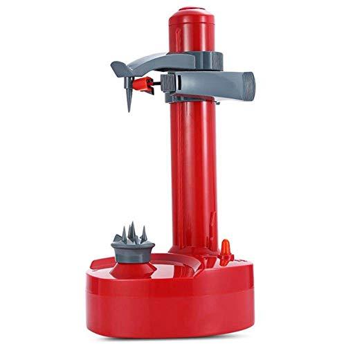 FDGNJFGH Elektrische Schälmaschine automatische rotierende Apfelschälmaschine Kartoffelschälmaschine multifunktionale Edelstahl Obst und Gemüse elektrische Schälmaschine,red