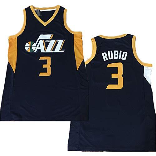 TPPHD Jerseys de Baloncesto para Hombres, Jazz NBA # 3 Ricky Rubio CLÁSICO Swingman Jersey, Tela Transpirable Fresca de la Vendimia Uniforme de Fan Unisex,4,XXL