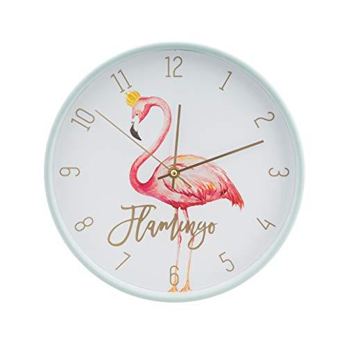 LUUK LIFESTYLE hochwertige, Moderne, Schlichte Minimal Quarz Wanduhr Flamingo mit Sekundenzeiger, Küchenuhr, Vintage Wohnzimmer Uhr, Mint