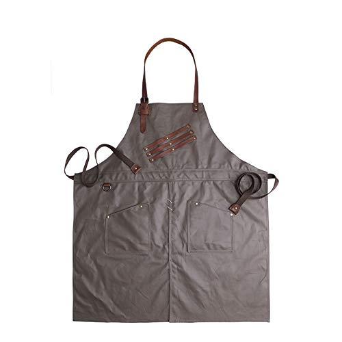 YMJJ Craftsman Schürze Vintage Canvas wasserdichte Schürze mit Multi-Tool-Tasche Robust und Abriebfest,ArmyGreen