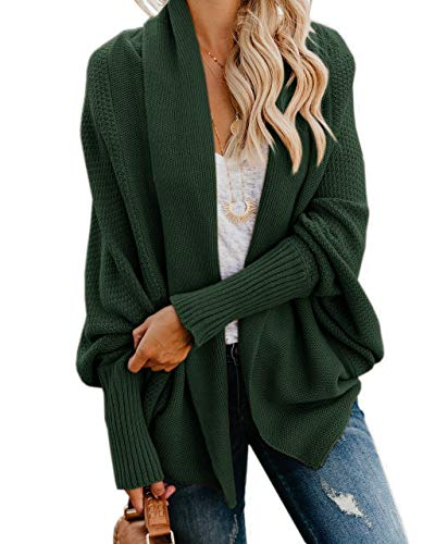 Imily Bela Womens Kimono Batwing Cable Knitted Slouchy Oversized Wrap Cardigan Sweater Green