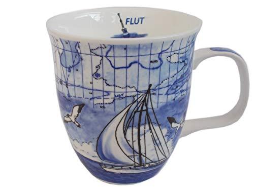 Unbekannt Maritimer Kaffeebecher Blue Sea - Rondo Becher mit Seekarte Leuchtturm und Segelschiff - Blau 500 ml