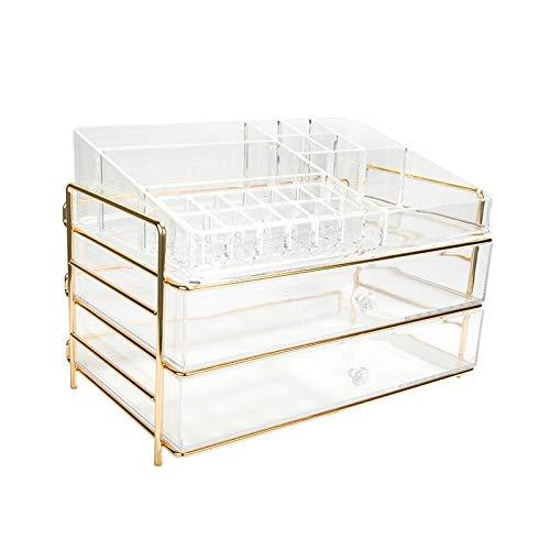 Acryl Cosmetische Organisator Hoesje Tafelopbergstandaard met Champagne Frame voor Make-up Clear Vanity Box Houder met 2 Laden, 12 Lipstick vakken