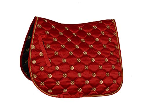 Rhinegold Tapis de Selle Unisexe 415-F-RED Lucky Clover en Satin, Rouge, Complet