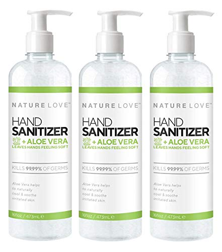 Nature Love Alcohol Based Hand Sanitizer Gel with Aloe Vera...