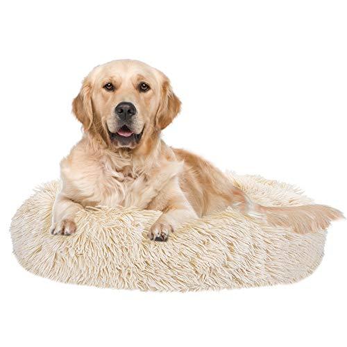 SlowTon Calming Dog Bed, Donut Dog Cuddler Bed Ultra Soft Fluffy Faux Fur Plush...