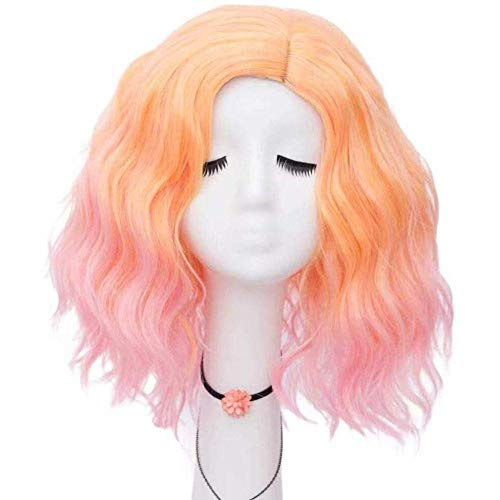Hairpieces Lady s 40cm Super Cute Lovely MixedColor Pink Loose Wave Halloween Party Daily Cosplay Wigs Gradient