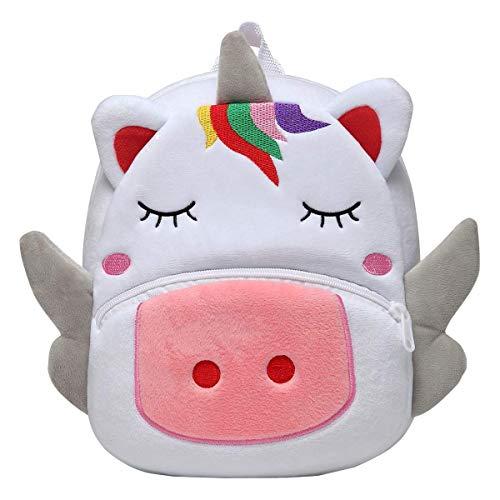 Mochila para Niña, Kasgo Pequeño Mochilas Infantil Linda Mochilas para Guardería Animales 3D Suave Mochila de Felpa para Bebe(Unicornio Blanco)