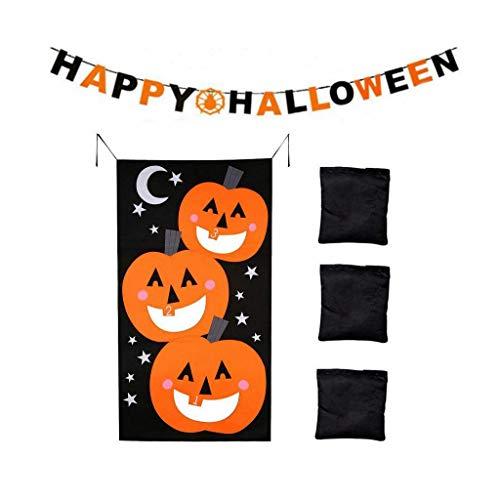 JUNICON Kürbis-Spiele-Set + 3 Sitzsäcke + Filz-Banner für Halloween, lustige Halloween, Spiele für Kinder und Erwachsene bei Halloween, Party-Aktivitäten, Halloween-Dekorationen und Zubehör