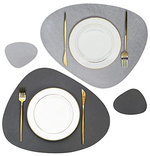 Olrla Weiches PU-Leder-Tischset und Untersetzer-Set, 2 Tischsets und 2 Untersetzer für den Esstisch im Home-Restaurant (Dunkelgrau)