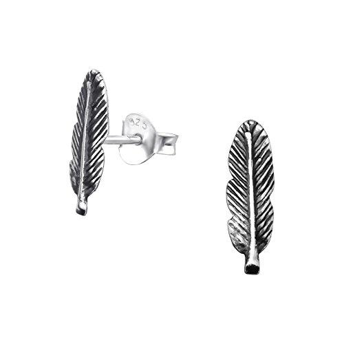 Laimons Orecchini da donna a forma di piuma, in argento Sterling 925 ossidato 10 mm