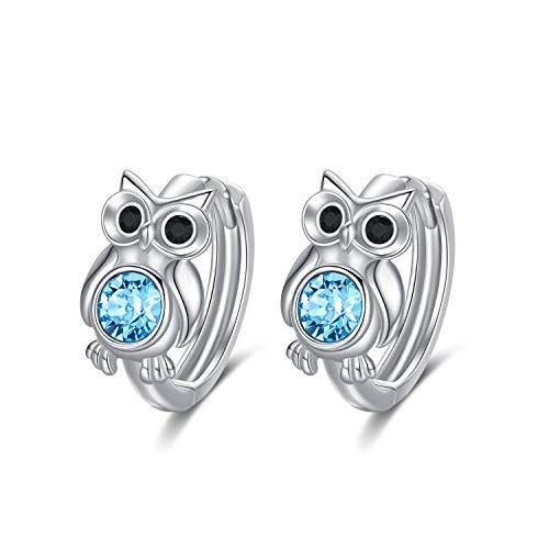Ohrringe Eule Sterling Silber 925 Damen Creolen mit Blau Swarovski Kristallen Eule Schmuck für Frauen Mädchen Kinder