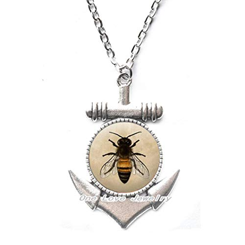 Ni36uo0qitian0ozaap Collar de ancla de abeja de miel - Collar de ancla de abejorro de abejas, collar de ancla de abejas, regalo de abeja, collar de ancla de abeja reina, joyería de abejas, TAP112