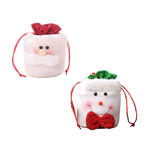 Healifty 2pcs Christmas Apple Gift Bags Holiday Treats Bags Christmas Party Favor Pouch Goody Bags for Party Festival Gathering