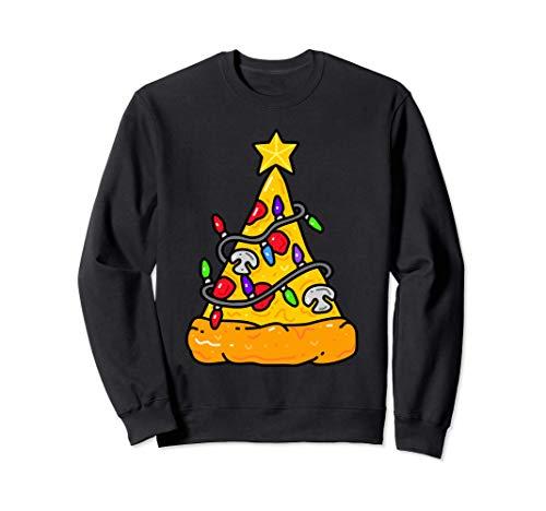 Pizza árbol de Navidad Luces Navidad Regalos Hombres Niños Sudadera