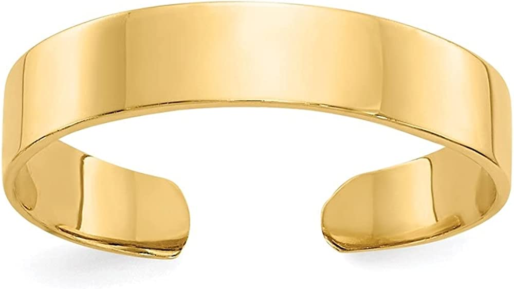 14k Yellow Gold Adjustable Polished Band Toe Ring for Women
