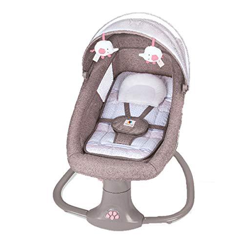 MOZX Mecedora De Columpio para Bebé, Balancines Eléctricos para Bebés Y Gorilas con Control Remoto, Eléctrica De Guardaespaldas para Bebés con Almohada con Forma/Bluetooth/Mosquitera,Marrón