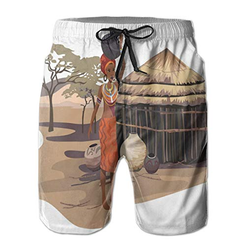 DHNKW Swimming Shorts Funny Printed,Native Woman Carrying A Pot Hut Tree Natural Landscape Village Illustration,Quick Dry Beach Board Trunks with Mesh Lining,Large