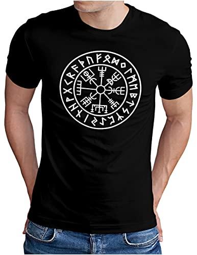 OM3® Vegvisir-Viking-Compass T-Shirt   Herren   Odin Runen Wikinger Symbol Nordic Warrior   Schwarz, M
