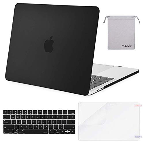 MOSISO MacBook Pro 13 inch Case 2019 2018 2017 2016 Release A2159 A1989 A1706 A1708, Plastic Hard Shell &Keyboard Cover &Screen Protector &Storage Bag Compatible with MacBook Pro 13, Black