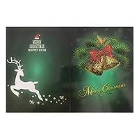 グリーティングカードメリークリスマスカードDIY絵画手作りカードラウンドドリルグリーティングカードラインストーン刺繡工芸品ギフトクリスマス用品さまざまなホリデーパーティー活動に適しています (Size:260 X 180mm; Color:5)