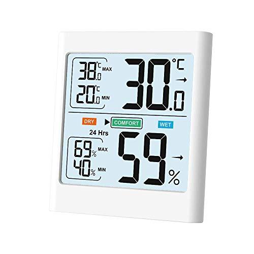 Newentor Innen Thermometer-Hygrometer, Raum Wetterstation, Innen Außen mit Hintergrundbeleuchtung, Min/Max-Aufzeichnungen, LCD-Bildschirm, weiß