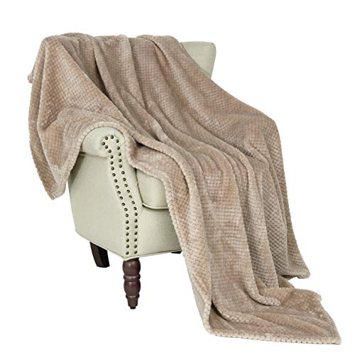 Exclusivo Mezcla Waffle Textured Soft Fleece Blanket, Large Throw Blanket(Camel, 50 x 70 inches)- Cozy, Warm and Lightweight