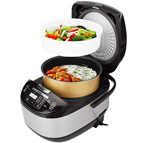 COMFEE' 5.2Qt Asian Style Programmable All-in-1 Multi Cooker, Rice Cooker, Slow Cooker, Steamer, Sauté, Yogurt Maker, Stewpot with 24 Hours Delay Timer and Auto Keep Warm Functions