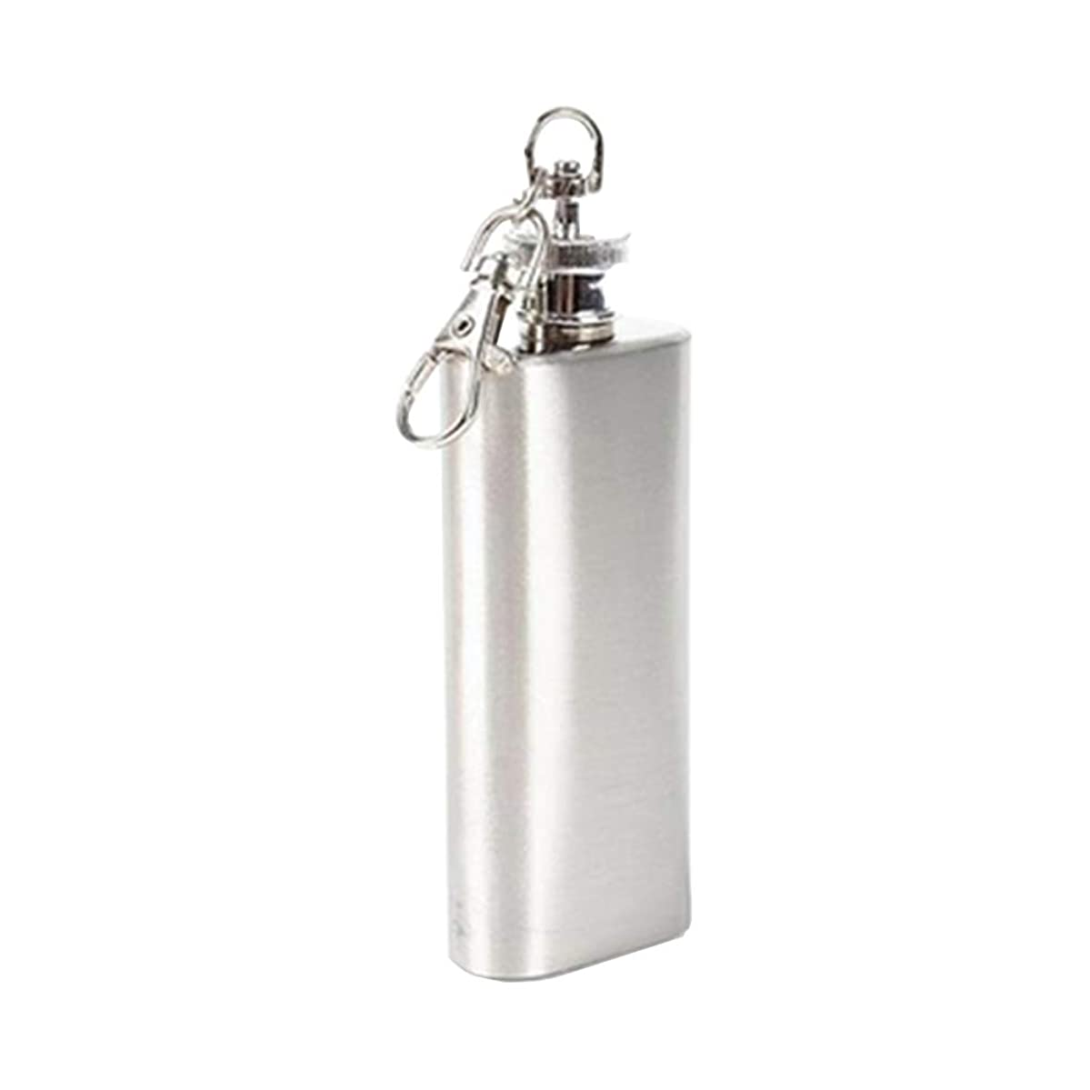 BESTONZON 3 Oz 56ml Hip Flask with Carabiner Keychain Stainless Steel Pocket Flask for Liquor (Silver)