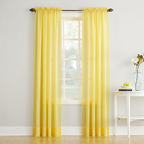 """No. 918 Erica Crushed Textured Sheer Voile Rod Pocket Curtain Panel, Yellow, 51"""" x 84"""""""
