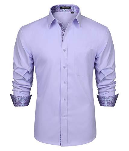 HISDERN Herren Lila Hemden Inner Contrast Floral Langarm Casual Formal Classic Button-Down-Kragen Business-Hemd